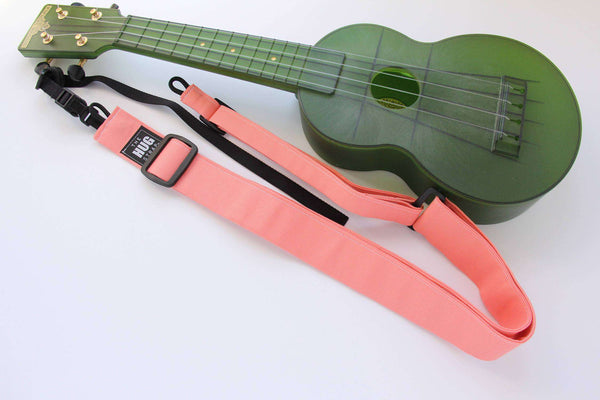 Ukulele Strap, All in One HUG Strap, Coral Pink Strap, Works with or Without Strap Buttons, Hands Free Uke Strap
