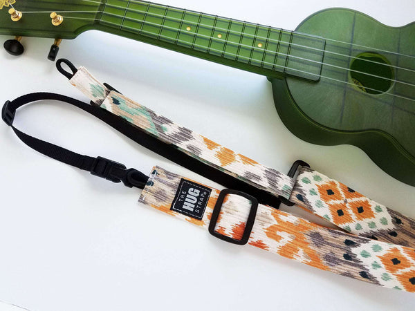 Ukulele Strap, All in One HUG Strap, Earthtones Ikat, Works with or Without Strap Buttons, Hands Free Uke Strap