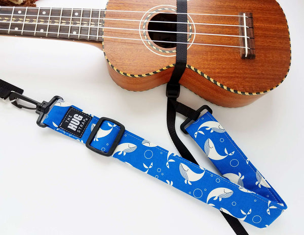 Hug Strap for Ukulele Whales on Blue