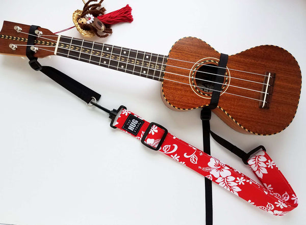 Hug Strap for Ukulele White Hibiscus on Red