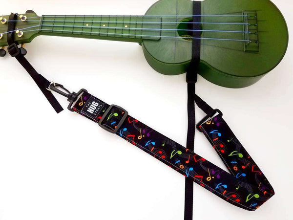 Ukulele Strap, The Hug Strap, Multicolor Musical Notes