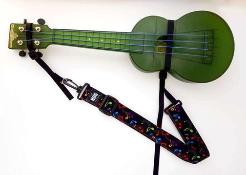 Ukulele Strap, The Hug Strap with Nylon Cinch, Uke Strap, No Need for Strap Buttons, Multicolor Musical Notes