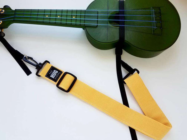 Ukulele Strap, The Hug Strap with Nylon Cinch, Uke Strap, No Need for Strap Buttons, Yellow Ukulele Strap