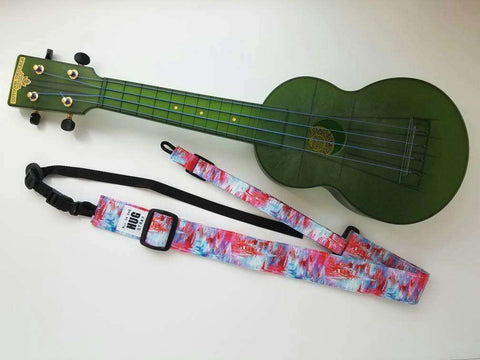 Ukulele Strap All in One Hug Strap Brushstrokes in Pink, Blue and Red