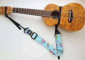 Ukulele Strap The Hug Strap Nylon Cinch No Strap Buttons Flamingos on Vacation
