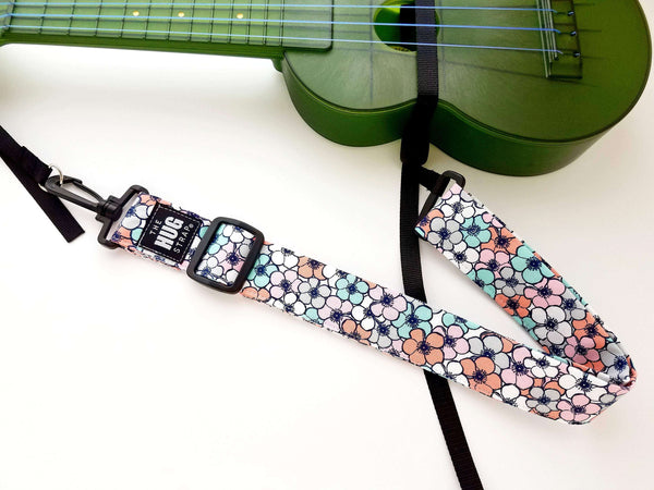 Hug Strap for Ukulele Pink Blue Gray and White Flowers