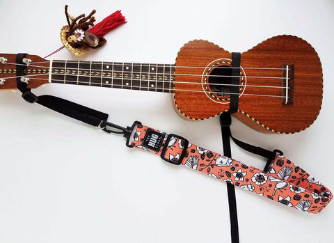 Hug Strap Ukulele Strap No Button Birds on Coral