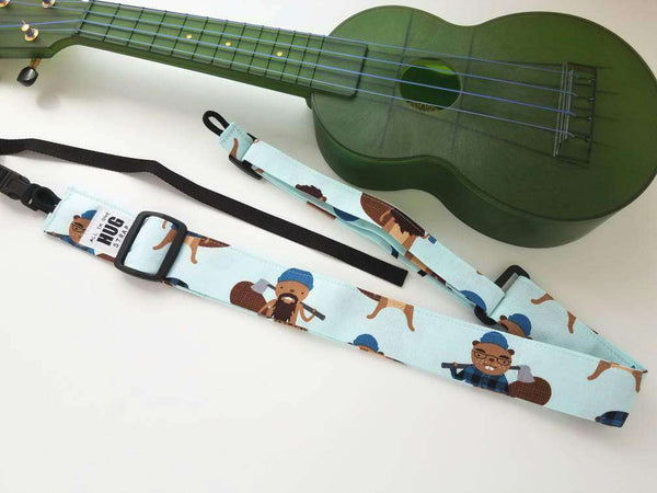 Ukulele Strap, All in One Hug Strap, Lumberjack Beavers, Works with or Without Strap Buttons, Hands Free Uke Strap