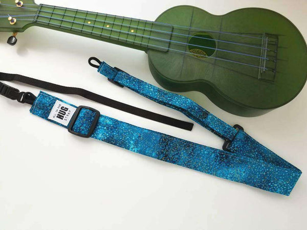 Ukulele Strap, All in One Hug Strap, Gold Dust on Teal, Works with or Without Strap Buttons, Hands Free Uke Strap