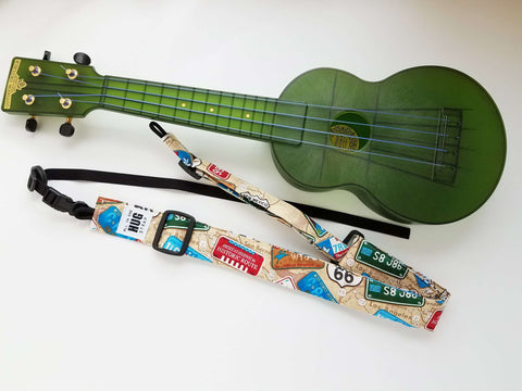 Ukulele Strap All in One Hug - License Plates Americana