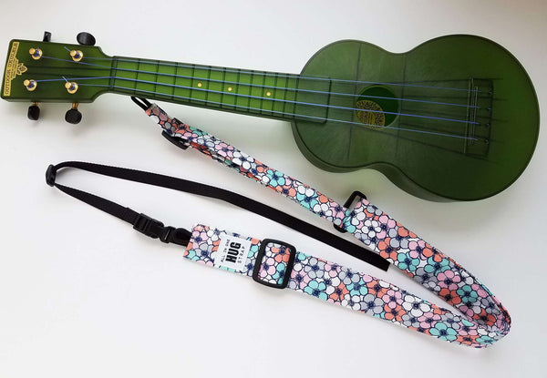 Ukulele Strap All in One Hug Pink Blue, White and Gray Flowers