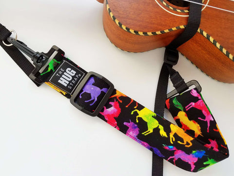 Hug Strap Kids Ukulele Strap No Button Unicorn Silhouettes