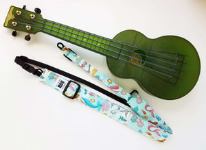 Ukulele Strap All in One Hug Strap Under the Sea Mermaids