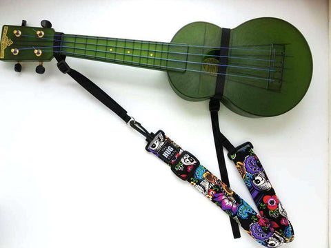 Hug Strap for Ukulele Catrina Chiquita Day of the Dead Skeletons