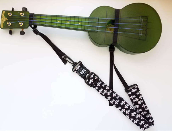 Ukulele Strap The Hug Strap for Ukulele Poodles Black Uke Strap No Button