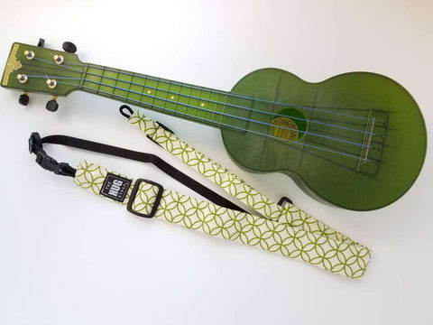Ukulele Strap, All in One Hug Strap, Green Circles on Cream, No Drill Uke Strap