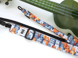 Ukulele Strap All in One Hug Orange Gray Cats