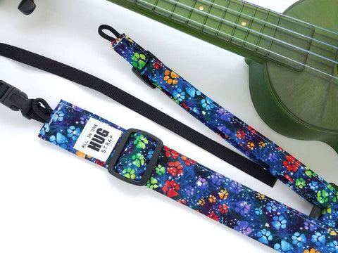 Ukulele Strap All in One Hug Dog Paw Prints