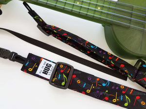 Ukulele Strap All in One Hug Strap Multicolor Music Notes on Black
