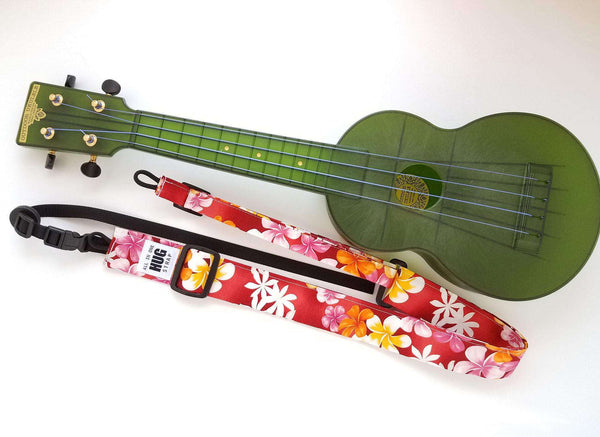 Ukulele Strap All in One Hug Plumeria on Red