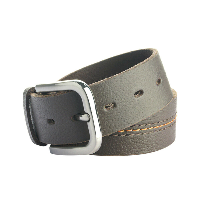 Men's Leather Jeans belt Pewter color buckle Genuine Leather natural & rugged