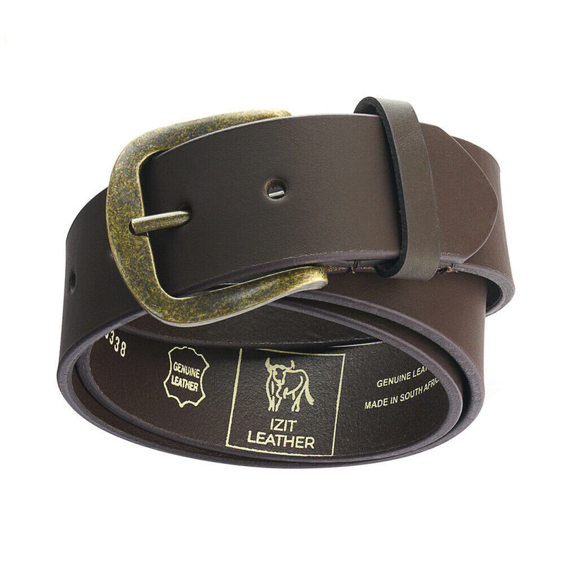 Men's Leather Jeans belt Brushed Brass buckle Genuine Leather natural & rugged