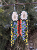 Brook Trout Beaded Antler Earrings
