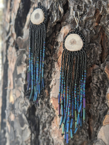 Night Sky Beaded Antler Earrings