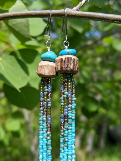 Turquoise Antler Tassel Earrings