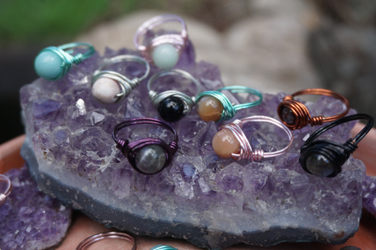 Wire Wrapped Crystal Rings