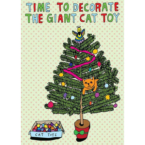 ABLE AND GAME Christmas Card - Giant Cat Toy