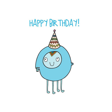 ABLE AND GAME Kids' Birthday Card - Blue Alien