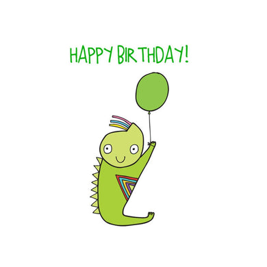 ABLE AND GAME Kids' Birthday Card - Green Alien