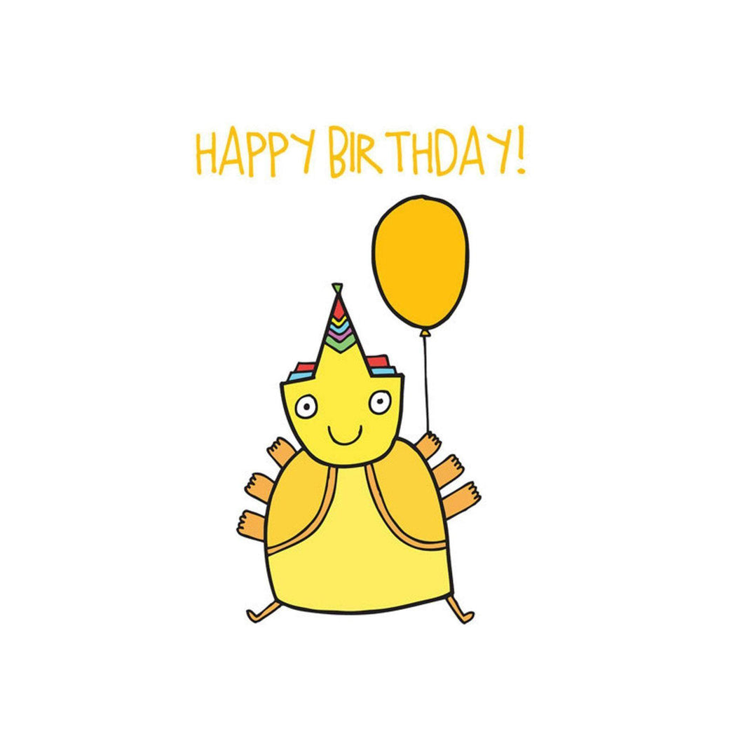 ABLE AND GAME Kids' Birthday Card - Yellow Alien
