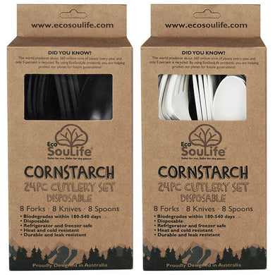 ECO SOUL LIFE Cornstarch Cutlery Sets - 24pc