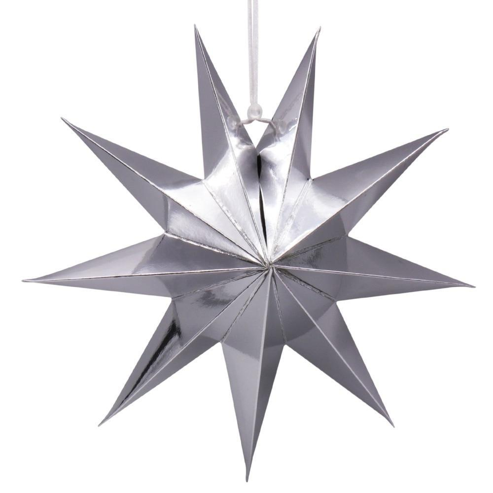 Hanging 3D Paper Stars, 30cm - Silver