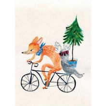 Load image into Gallery viewer, SURFING SLOTH Card - Christmas on a Bicycle