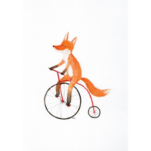 Load image into Gallery viewer, SURFING SLOTH Card - Cycling Fox