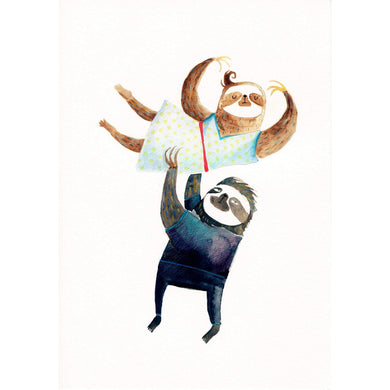 SURFING SLOTH Card - Dancing Sloths