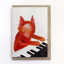 Load image into Gallery viewer, SURFING SLOTH Card - Keyboard Cat