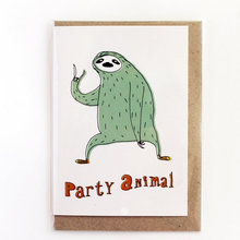 Load image into Gallery viewer, SURFING SLOTH Card - Party Animal!