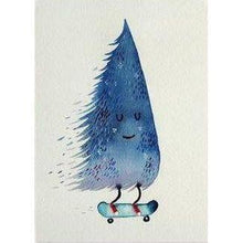 Load image into Gallery viewer, SURFING SLOTH Card - Skating Christmas Tree