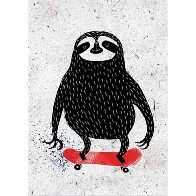 SURFING SLOTH Card - Skating Sloth
