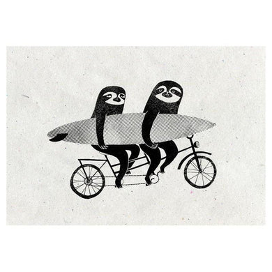 SURFING SLOTH Card - Tandem Sloths