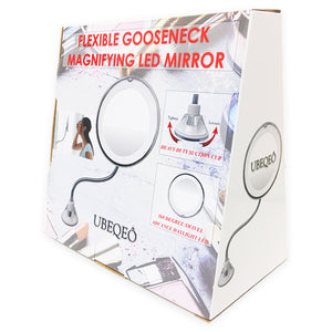 UBEQEÔ 7X Flexible Magnifying Makeup Mirror with Light | Adjustable Gooseneck Suction Cup | The Bathroom Vanity with Lights has a Bright LEDs
