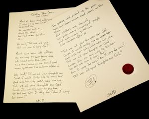 Handwritten Lyric (written, signed & dedicated by J.R. )