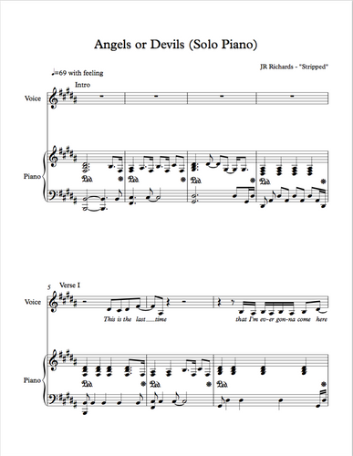 Angels or Devils - Solo Piano (Sheet Music -