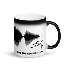 "Load image into Gallery viewer, JR's SOUNDWAVE Series - Matte Black Magic Mug - ""Come And Take Me Home"""
