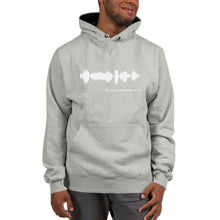 "Load image into Gallery viewer, JR's SOUNDWAVE Series - Champion Hoodie - ""Tell Me All Your Thoughts on God"""