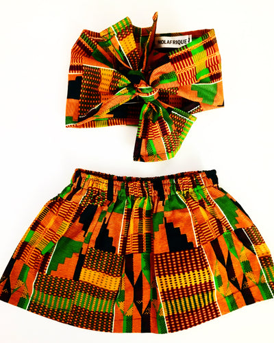 African Kente Skirt and Headwrap